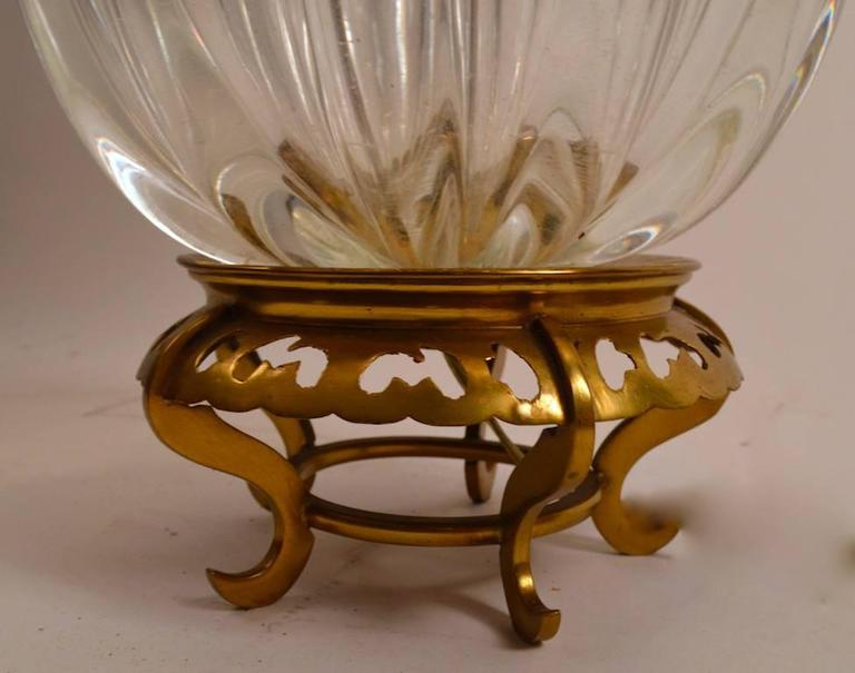 Clear bulbous glass body on cast brass Chinese style base. Elegant style, very good, working, original condition. Height to top of glass elements 14
