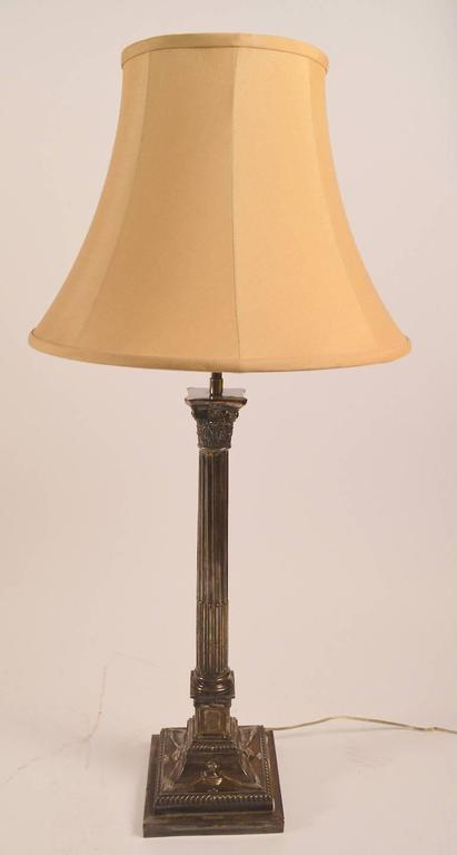 American Classical Pair of Classical Silver Plate Column Lamps For Sale