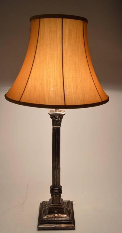 American Pair of Classical Silver Plate Column Lamps For Sale