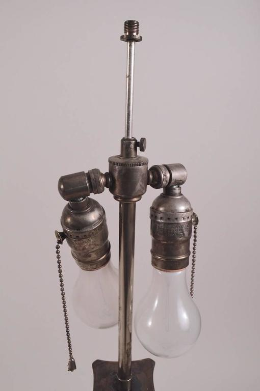 19th Century Pair of Classical Silver Plate Column Lamps For Sale
