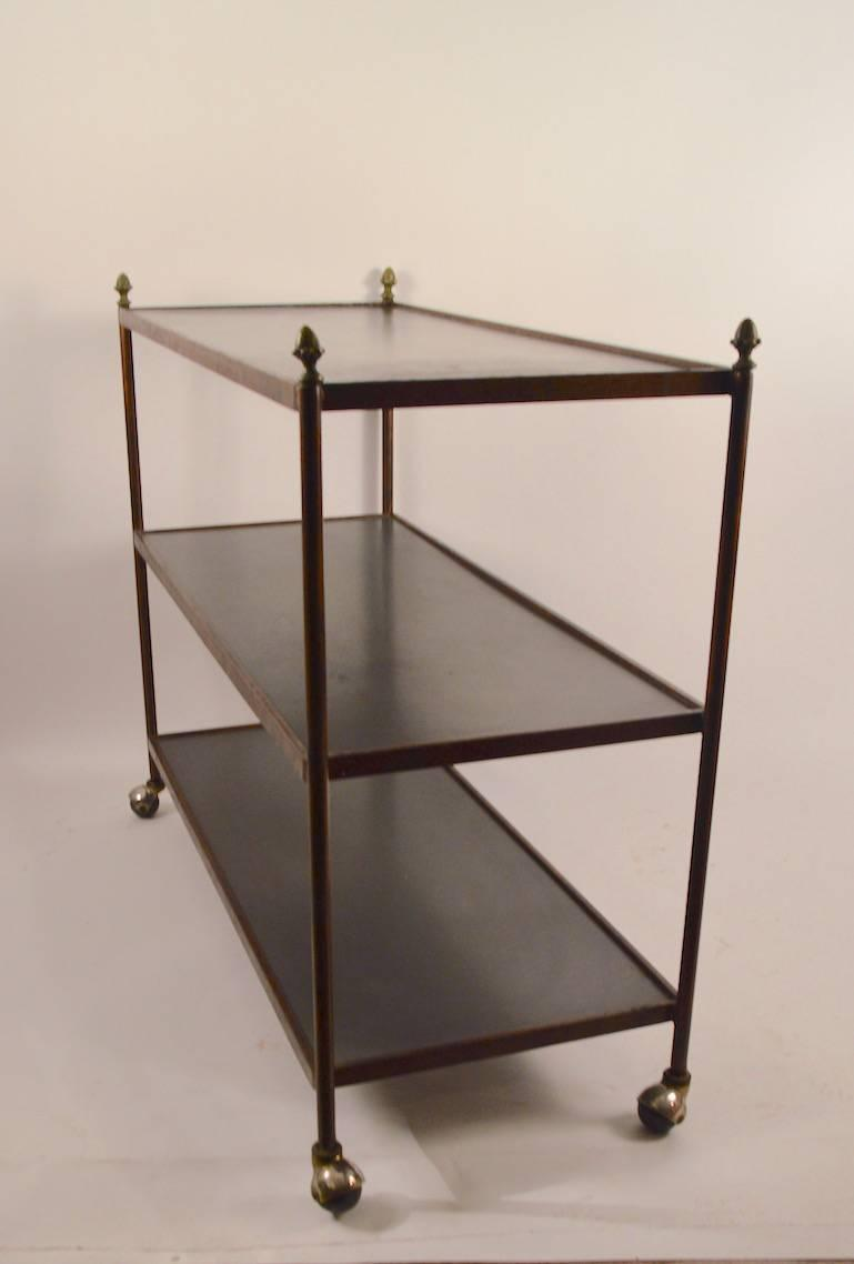 Formal Iron And Bronze Dumbwaiter Serving Bar Cart At
