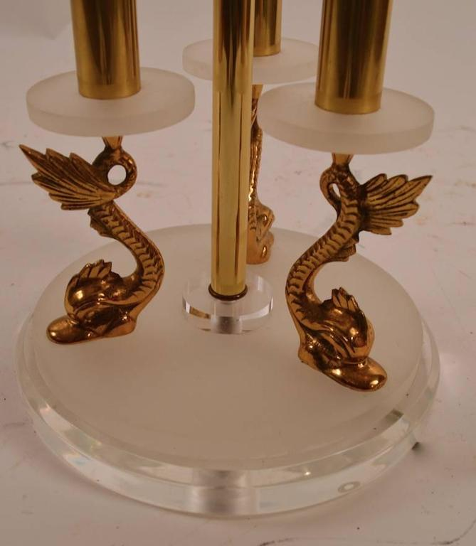 Pair Of Lucite And Brass Dolphin Serpent Lamps For Sale At