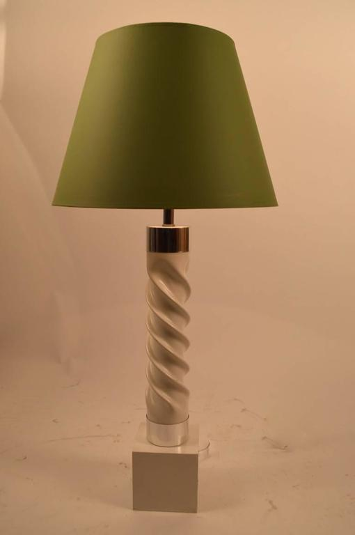 Pair of White and Chrome Twist Lamps For Sale 1