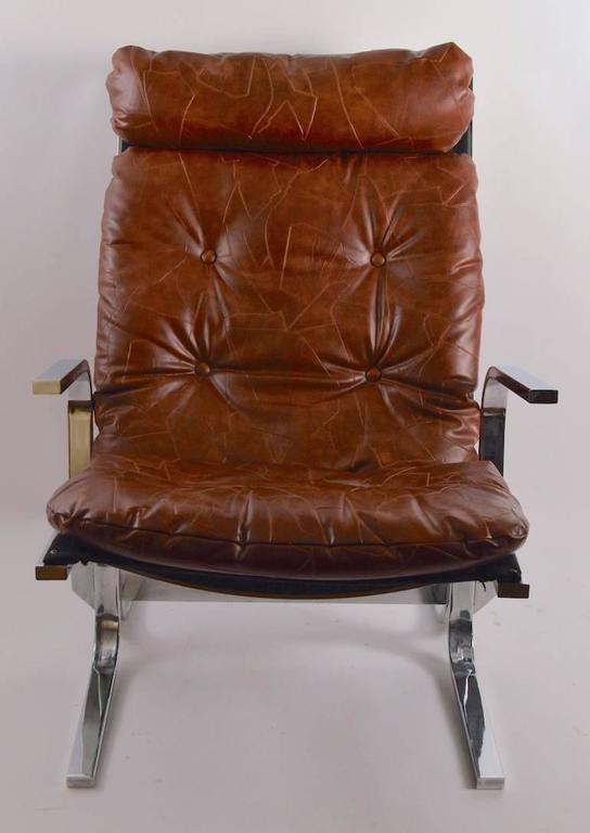 American Chrome Lounge Chair and Ottoman For Sale