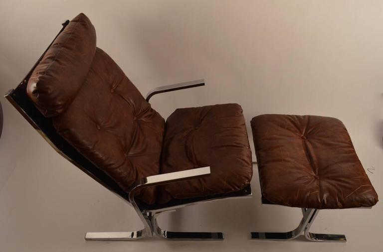 Late 20th Century Chrome Lounge Chair and Ottoman For Sale