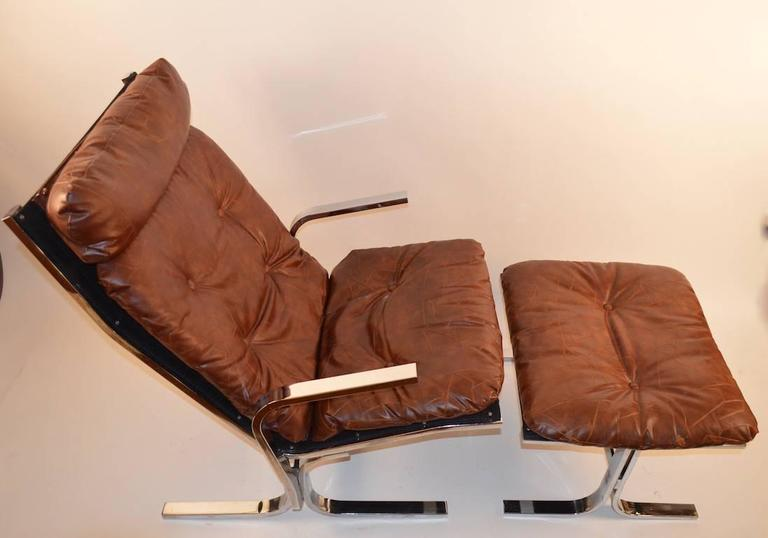 Chrome Lounge Chair and Ottoman For Sale 1