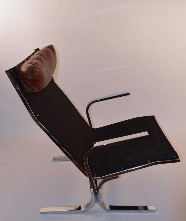 Chrome Lounge Chair and Ottoman For Sale 2