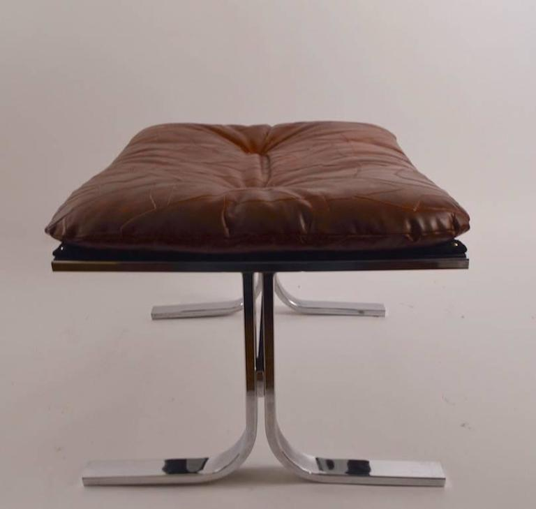 Chrome Lounge Chair and Ottoman For Sale 3
