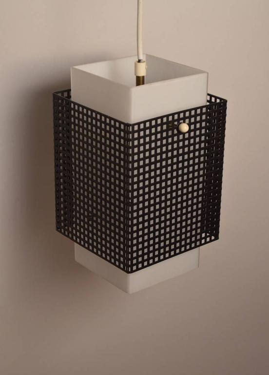 Finnish Grid Motif Squared Black and White Pendant Chandelier For Sale