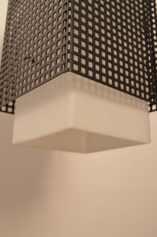 Grid Motif Squared Black and White Pendant Chandelier In Excellent Condition For Sale In New York, NY