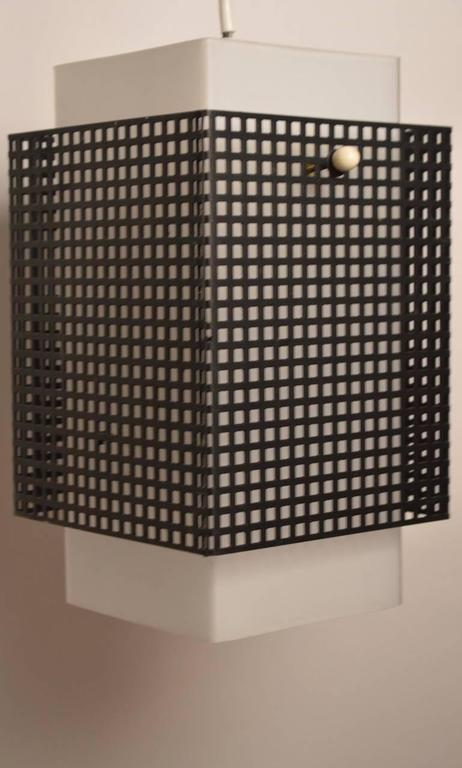 Mid-20th Century Grid Motif Squared Black and White Pendant Chandelier For Sale