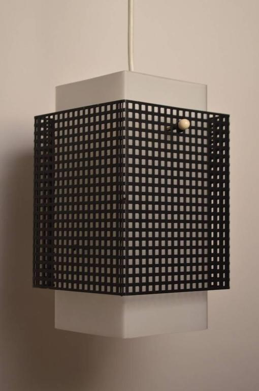 Glass Grid Motif Squared Black and White Pendant Chandelier For Sale