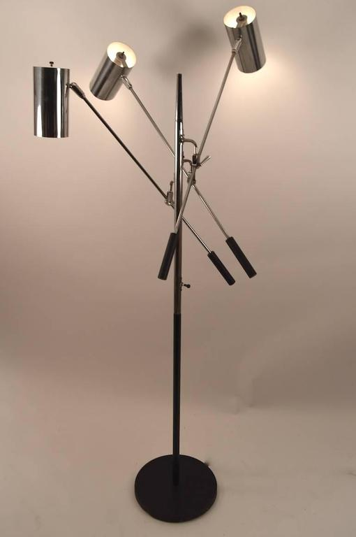 Black and chrome triennale floor lamp by sonneman for sale for Milano chrome floor lamp