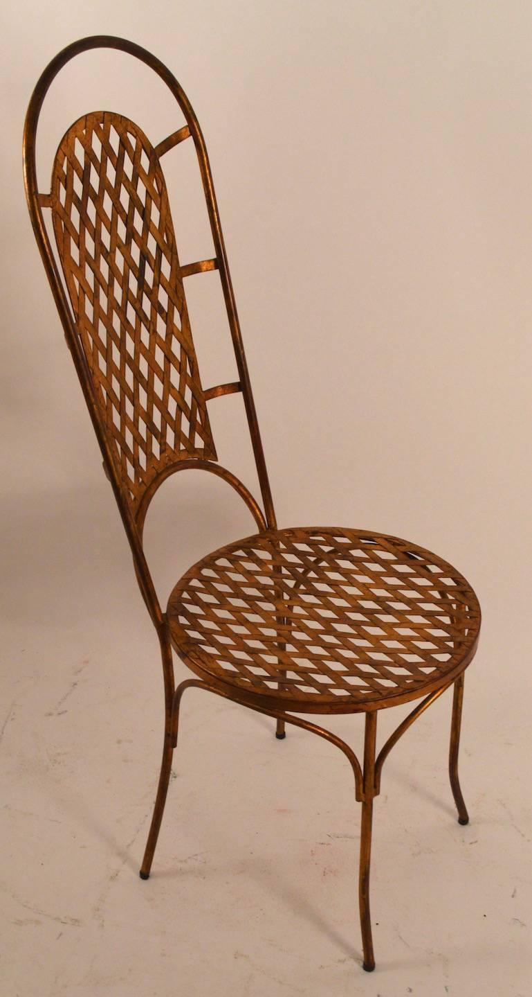 Set Of Four Gilt Metal Dining Chairs For Sale At 1stdibs