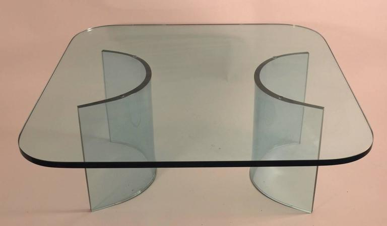 Mid-Century Modern Solid Plate Glass Top Glass Base Coffee Table For Sale