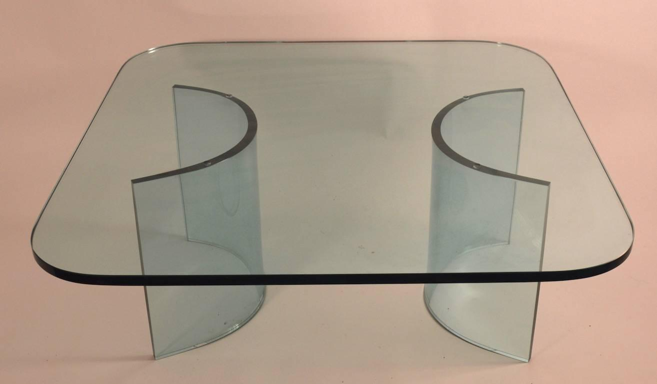 Solid Plate Glass Top Glass Base Coffee Table For Sale At 1stdibs