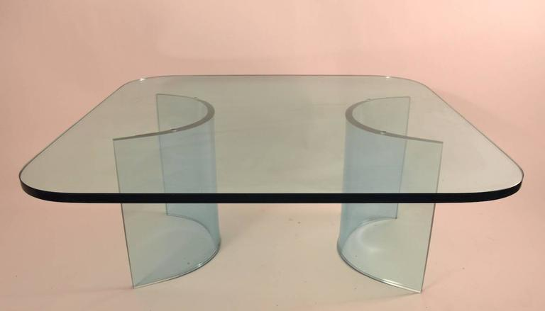 Solid Plate Glass Top Glass Base Coffee Table In Excellent Condition For Sale In New York, NY