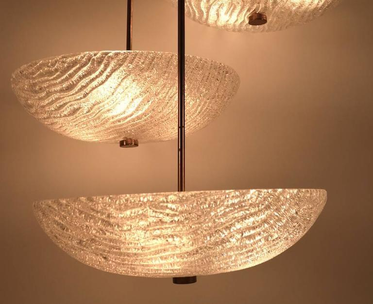 Swiss Three Shade Chandelier by Carl Fagerlund For Sale