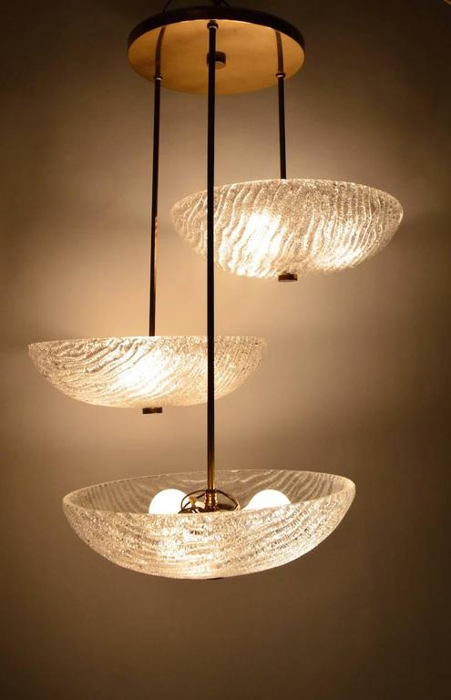 Three Shade Chandelier by Carl Fagerlund In Excellent Condition For Sale In New York, NY