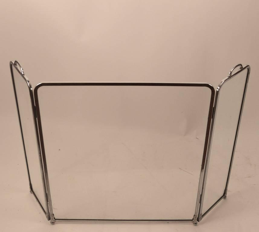 Glass And Chrome Folding Fireplace Screen For Sale At 1stdibs