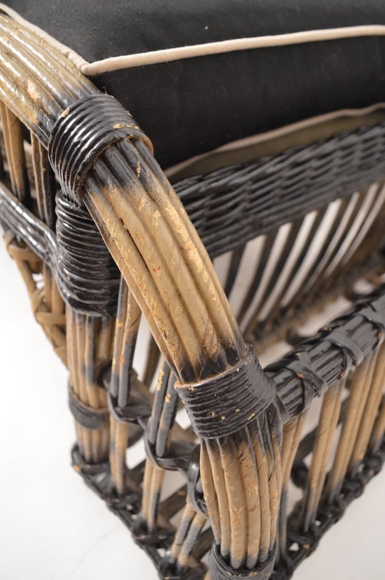 Split Reed Stick Wicker Ottoman For Sale At 1stdibs