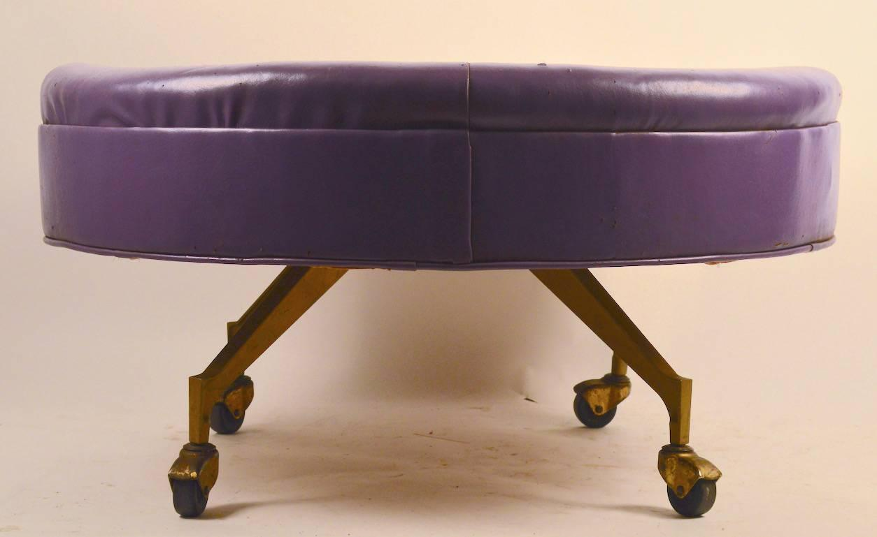 Large Round Ottoman : Large Round Rolling Pouf, Stool and Ottoman at 1stdibs