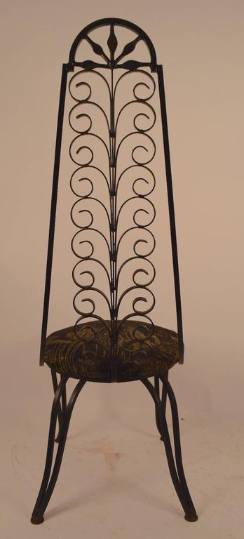 American Stylish Wrought Iron Chair After Umanoff For Sale