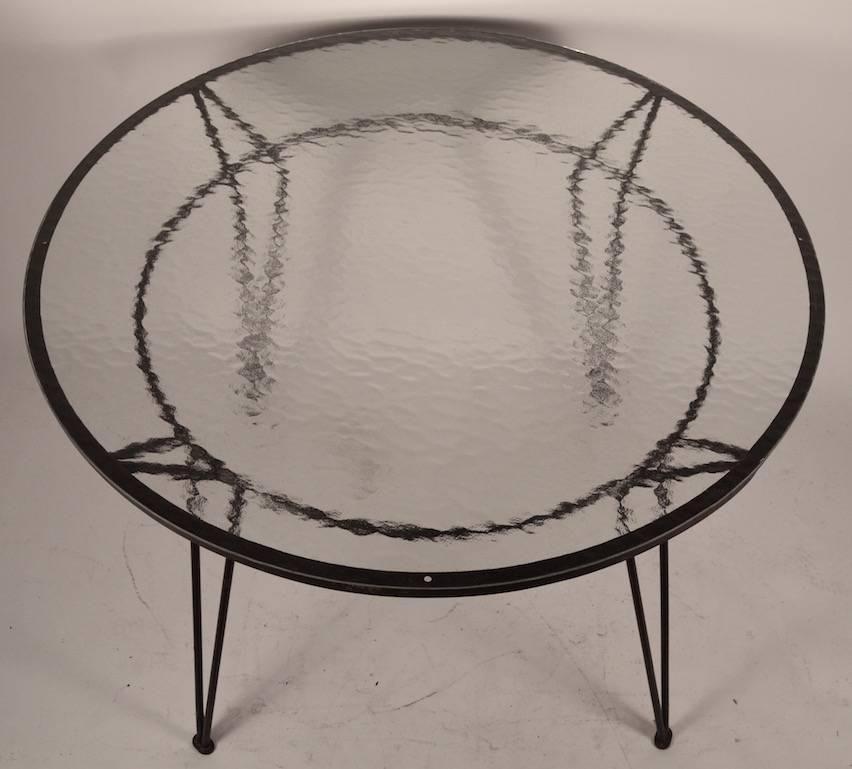 Wrought Iron Table with Textured Glass Top after Salterini  : DSC0305z from www.1stdibs.com size 852 x 769 jpeg 48kB