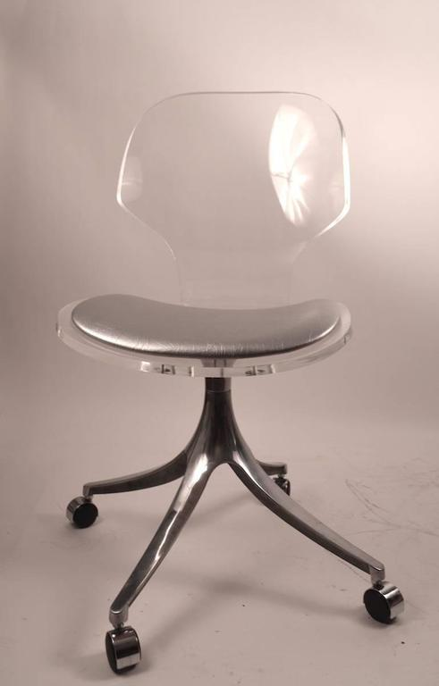 Impressive And Stylish Set Of Four Dining Chairs, Lucite Seat And Back,  Silver Leather