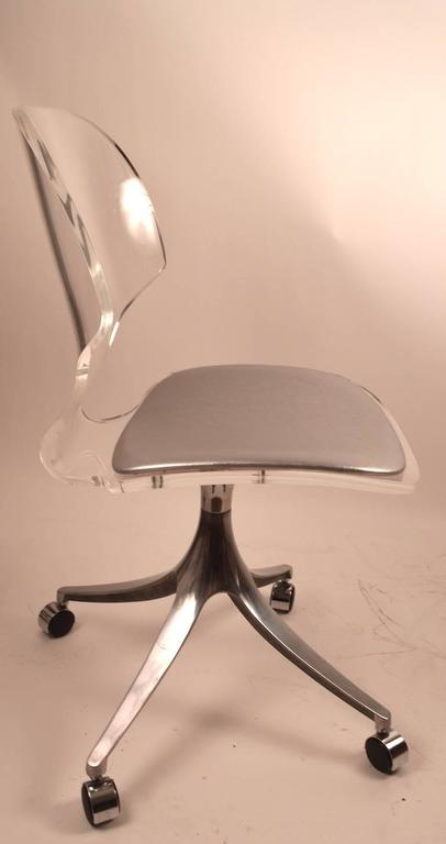 Lucite Swivel Dining Chairs By Hill Manufacturing Company