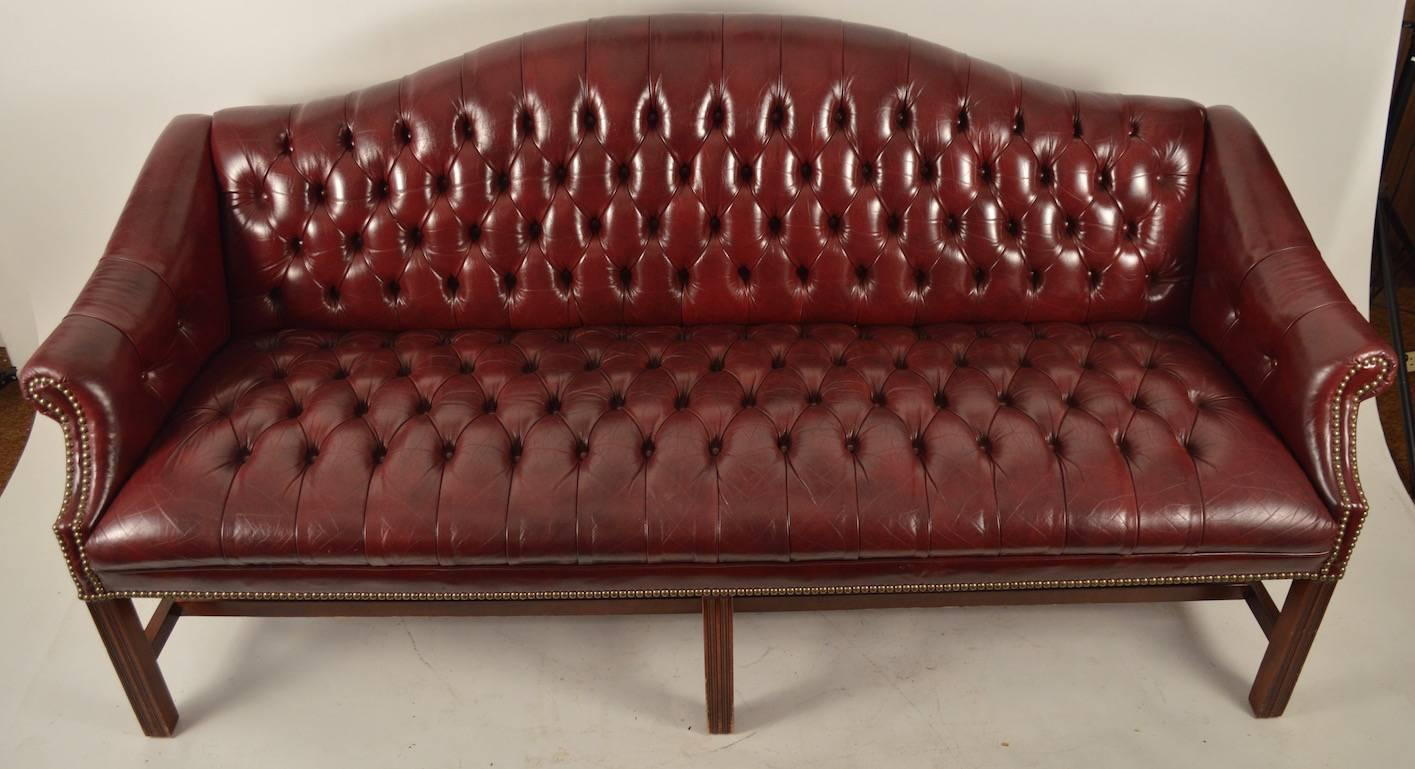 Burgundy Leather Chippendale Camelback Sofa For Sale At