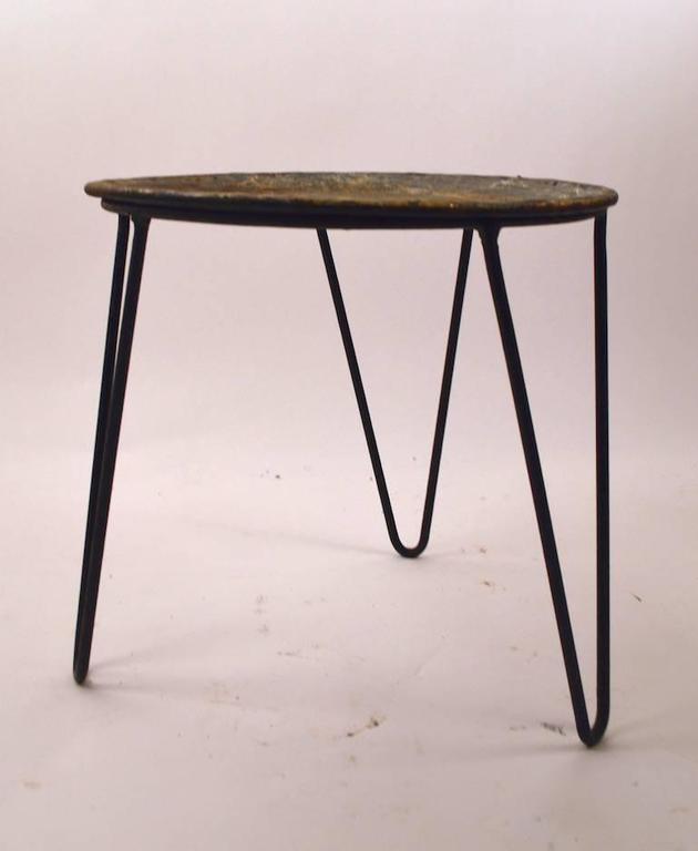Round Wrought Iron And Zinc Plant Stand