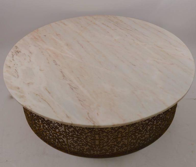 Extra Large Circular Wrought Iron And Marble Table For 1