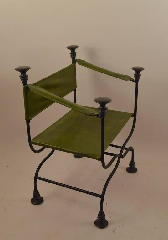 Hollywood Regency Pair of Campaign Chairs with Green Vinyl Seats, Backrest and Armrests For Sale