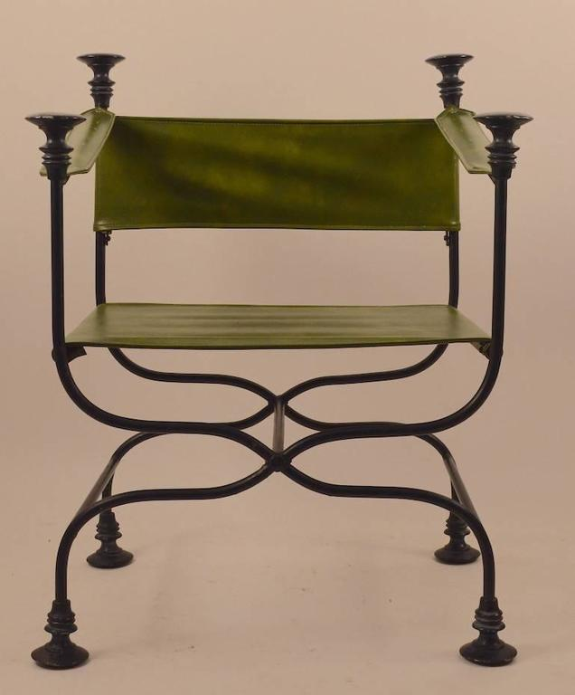 Pair of Campaign Chairs with Green Vinyl Seats, Backrest and Armrests In Excellent Condition For Sale In New York, NY