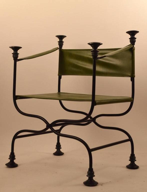 Pair of Campaign Chairs with Green Vinyl Seats, Backrest and Armrests 6