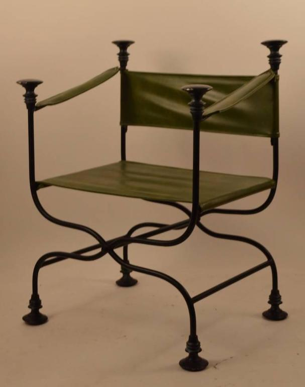 Upholstery Pair of Campaign Chairs with Green Vinyl Seats, Backrest and Armrests For Sale