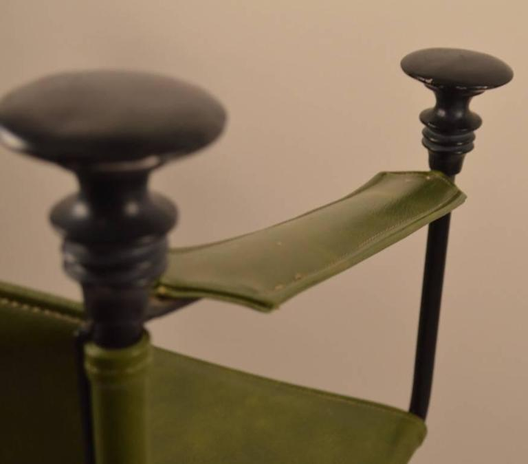 Pair of Campaign Chairs with Green Vinyl Seats, Backrest and Armrests For Sale 3