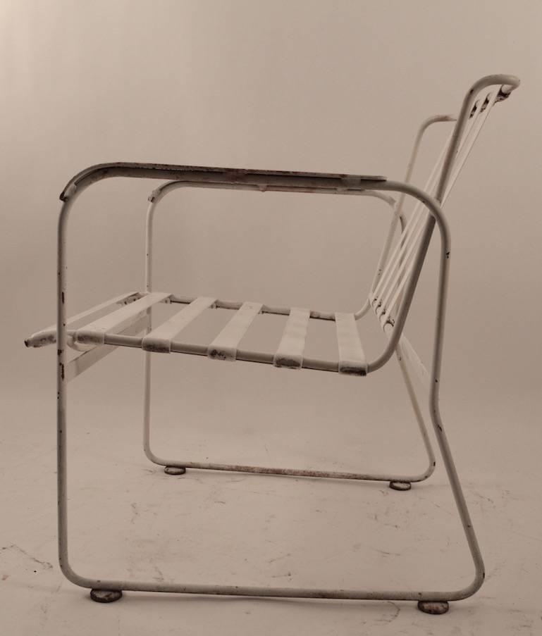 Set Of Four Wrought Iron And Plastic Strap Garden Patio Chairs For At 1stdibs