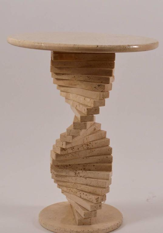 Late 20th Century Travertine Marble Stacked Block Twist Base Side Table For Sale