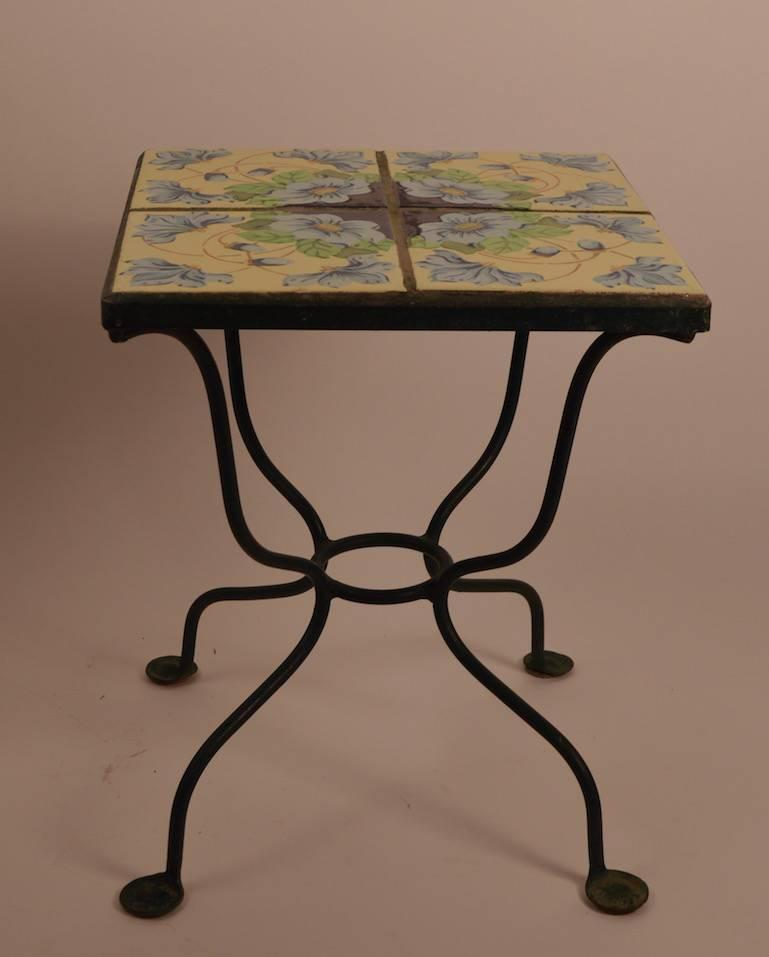 Tile top wrought iron base table at 1stdibs for Wrought iron side table base