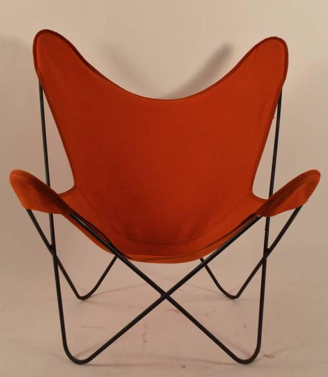 hardoy butterfly chair with original orange canvas sling. Black Bedroom Furniture Sets. Home Design Ideas