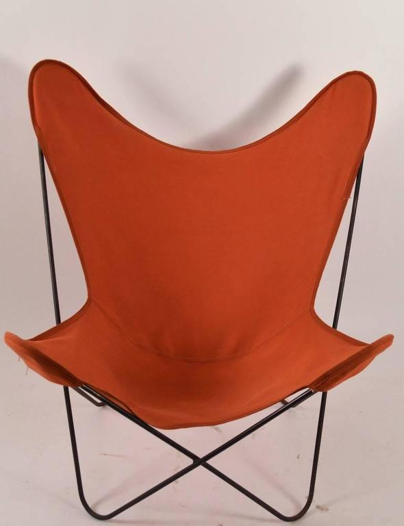 Hardoy Butterfly Chair with Original Orange Canvas Sling