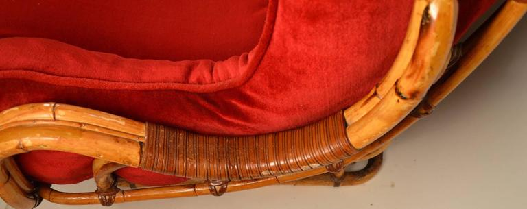 Mid-Century Modern Unusual Curvy Bamboo Sofa For Sale