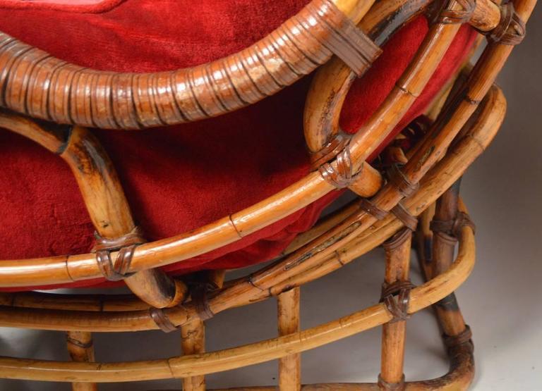 American Unusual Curvy Bamboo Sofa For Sale