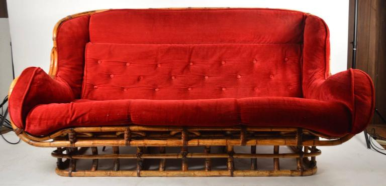 Unusual Curvy Bamboo Sofa In Good Condition For Sale In New York, NY