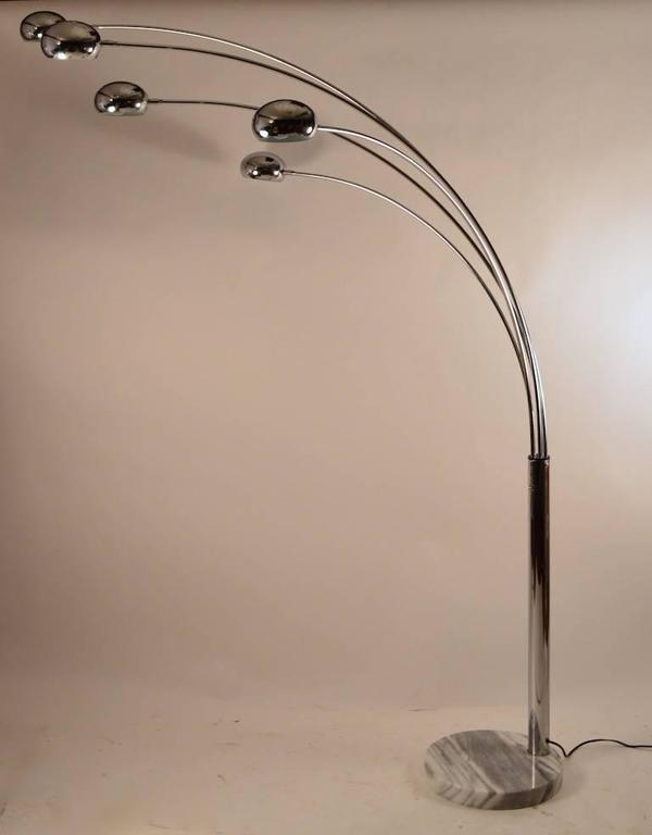 Five Light Chrome And Marble Arc Lamp At 1stdibs