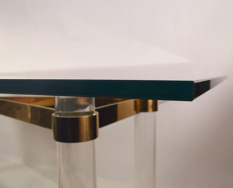 High Quality Lucite Brass And Glass Dining Table For Sale
