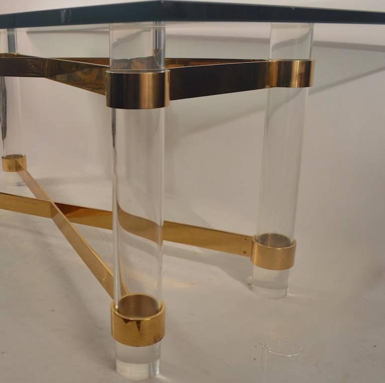 High Quality Lucite Brass And Glass Dining Table For Sale At 1stdibs