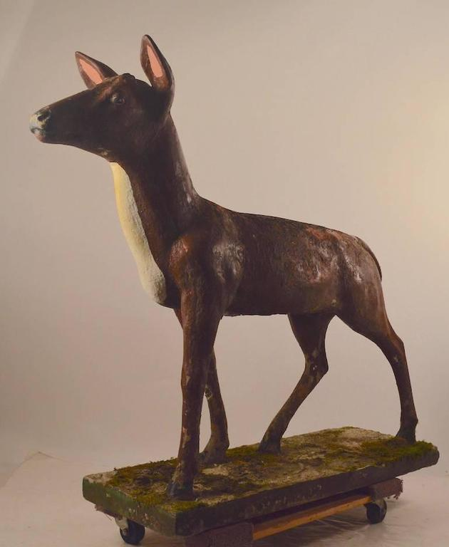 Rustic Large Poured Stone Deer Lawn Statuary For Sale